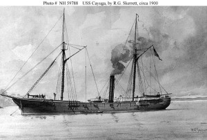 The USS Cayuga by RG Skerrett (c 1900) shown below which was built in the Gildersleeve Shipyard and played a critical role in the Civil War.